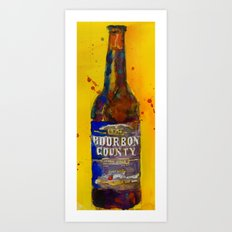 Bourbon County Stout, Goose Island for Beer Art Print from original Watercolor - Man Cave - College Art Print