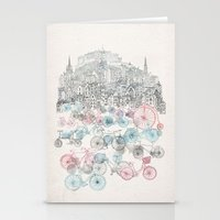 bikes Stationery Cards featuring Old Town Bikes by David Fleck