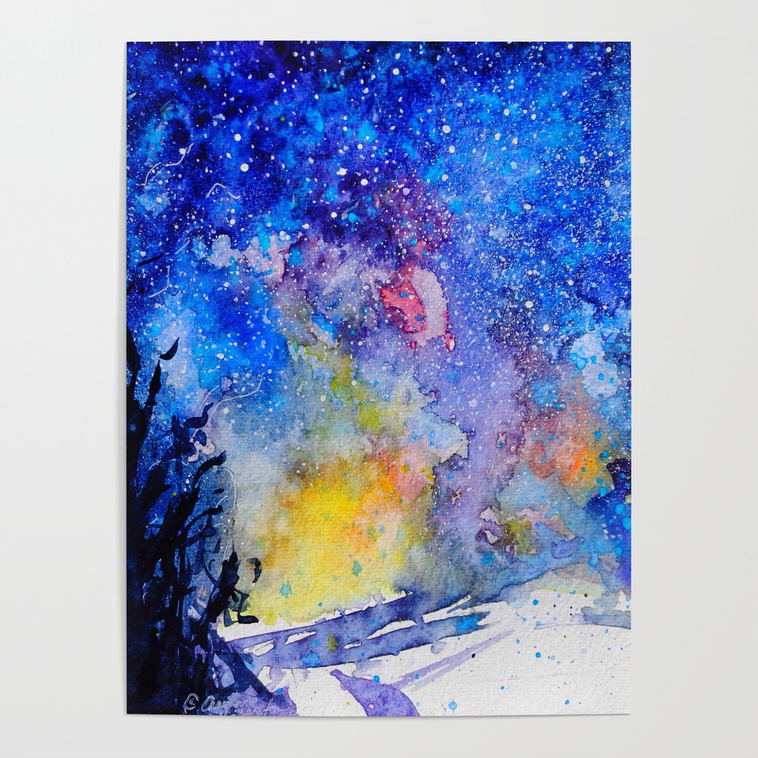 Midnight Galaxy Road Watercolour By Cheyanne Sexton Poster By Cheyannesexton