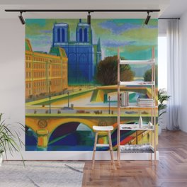 Vintage 1957 Paris River Seine & Notre-Dame Cathedral Travel Advertising Poster by Jacques Garamond Wall Mural