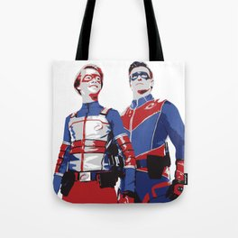 Captain Man and Kid Danger Lineart silhouette heroic Tote Bag
