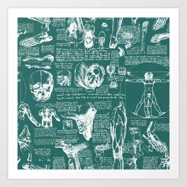 Da Vinci's Anatomy Sketchbook // Genoa Green Art Print