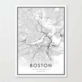 Boston City Map United States White and Black Canvas Print