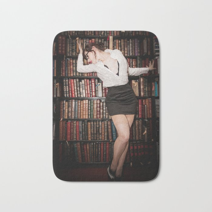 """""""Hot for Reading"""" - The Playful Pinup - Sexy Librarian Pin-up Girl by Maxwell H. Johnson Bath Mat"""
