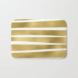Simply Luxury Gold unequal glitter stripes on clear white - horizontal  pattern Bath Mat
