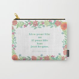 Watercolour Inspirational Quote - Live your life Carry-All Pouch