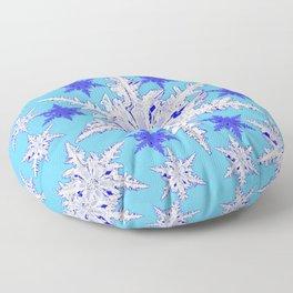 BABY BLUE SNOW CRYSTALS BLUE WINTER ART DESIGN Floor Pillow