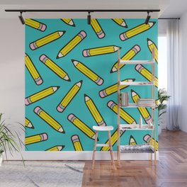 Pencil me in blue Wall Mural