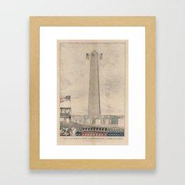 Vintage Bunker Hill Monument Inauguration Illustration Framed Art Print