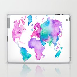 Modern world map globe bright watercolor paint Laptop & iPad Skin