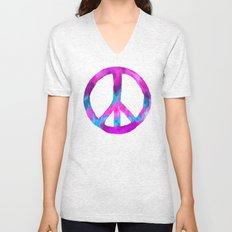 Purple Blue Watercolor Peace Sign Unisex V-Neck