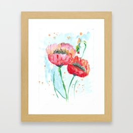 Poppy flowers no 4 Summer illustration watercolor painting Framed Art Print