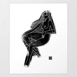 Seated Figure Black Art Print