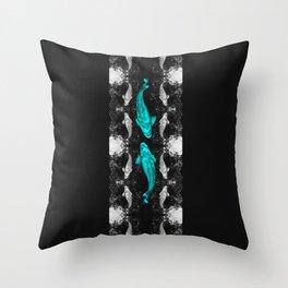 Koi Dance (Teegardin Teal) Throw Pillow