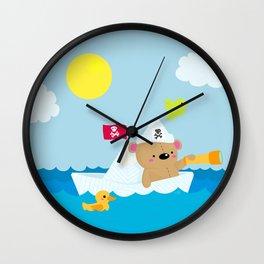 Bear in paper boat Wall Clock