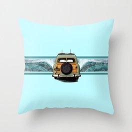 Woody Wave Hawaiian Surf Illustration  Throw Pillow