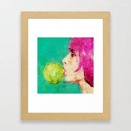 Bubble gum girl Framed Art Print