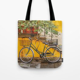 Bicycle Parked at Wall, Lucca, Italy Tote Bag