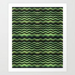 Modern Wavy Stripes Pattern Art Print