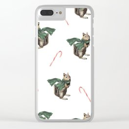 Winter Chipmunk and Candy Canes Clear iPhone Case
