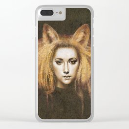 Vixen Fox Eared Girl Surreal Artwork Clear iPhone Case