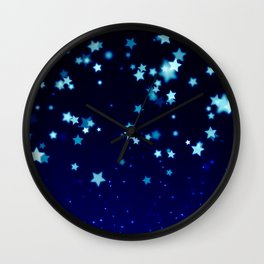 Twinkle Blue Stars1 Wall Clock