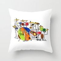 drums Throw Pillows featuring EPIC DRUMS by OUTSIDE VOICE