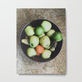 Top view of a bowl of fruit Metal Print