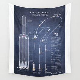 SpaceX Falcon Heavy Spacecraft NASA Rocket Blueprint in High Resolution (dark blue) Wall Tapestry