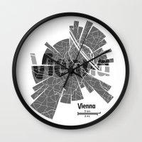 vienna Wall Clocks featuring Vienna Map by Shirt Urbanization