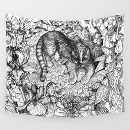 Tropical Wild Cat with Passiflora Wall Tapestry