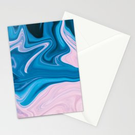 Wavy Pink & Blue (Color) Stationery Cards