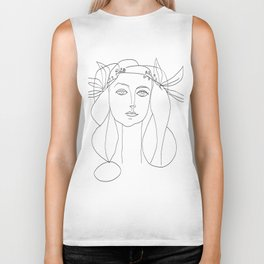 Picasso Line Art - Woman's Head Biker Tank
