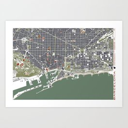 Barcelona city map engraving Art Print