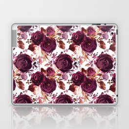 Burgundy pink white watercolor hand painted floral Laptop & iPad Skin