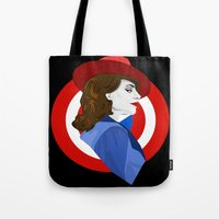 agent carter Tote Bags featuring Agent Carter by fabulosaurus