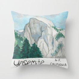 Yosemite, California-National Park-Watercolor Illustration Throw Pillow