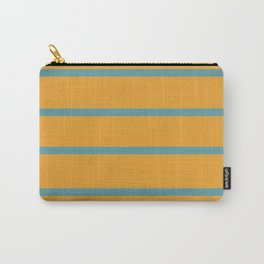 Variable Stripes Minimalist Mustard Orange and Turquoise Blue Carry-All Pouch