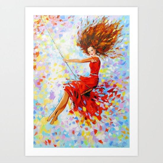 Girl on the swing Art Print