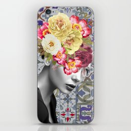 collage art-girl with flowers iPhone Skin