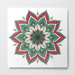 Mandala red green Metal Print