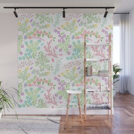 Colorful Easter Flower Pattern - Purple, Pink Green, Blue and Yellow Wall Mural