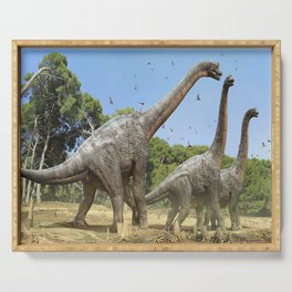 Dinosaurs walking on the river Serving Tray