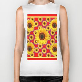 Red  & Violet Accents Color Sunflowers Pattern Art Biker Tank