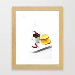 Spicy chilli and sweet fruits in chocolate Framed Art Print