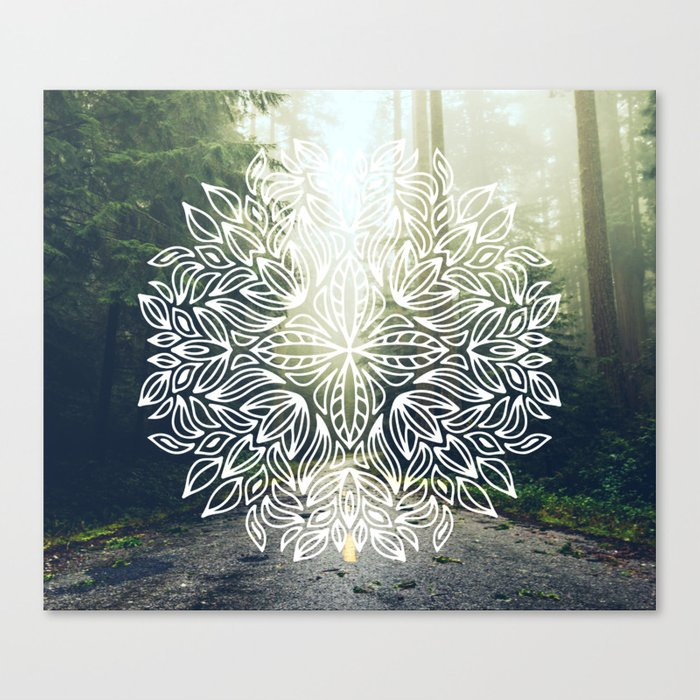 Mandala Forest Fog Road Canvas Print By Cascadia