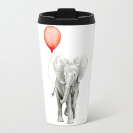 Baby Elephant Watercolor Red Balloon Nursery Decor Travel Mug