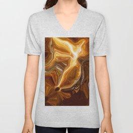 Earth Tones, Digital Fluid Art - Abstract Glowing Light Lines Unisex V-Neck