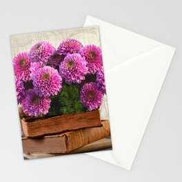 Old Books and Flowers Stationery Cards