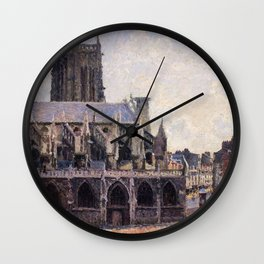Camille Pissarro - The Saint-jacques Church In Dieppe - Digital Remastered Edition Wall Clock